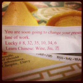 coincidence? luck? I received this message at Jewish Christmas Chinese dinner.