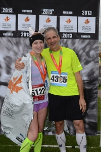 We made it! Dad (3:45) and me (4:04) reunited at the finish.
